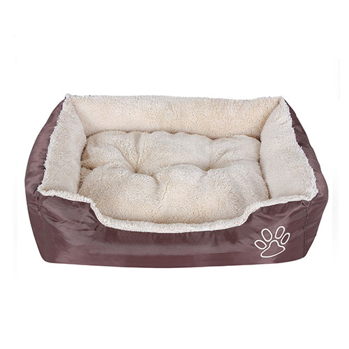 Brown PP Conton and Fleece Dog Beds